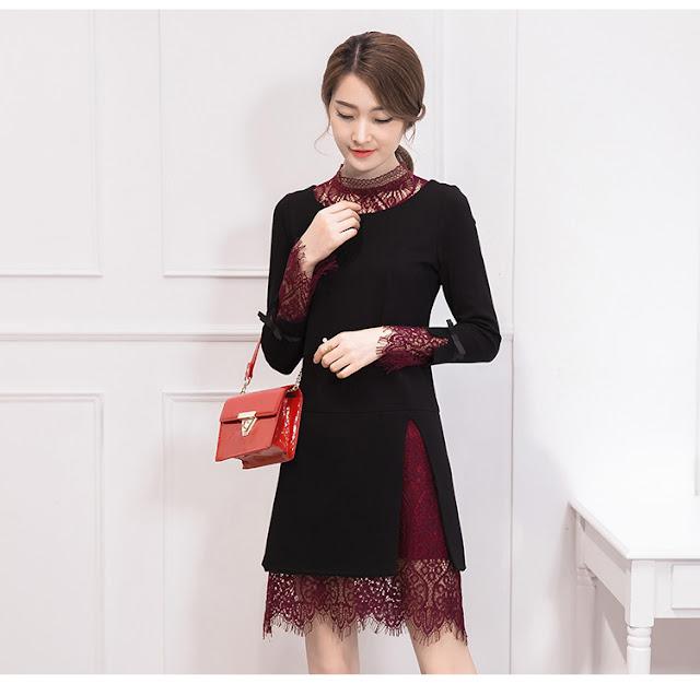 ชุดเดรสสีดำเกาหลี