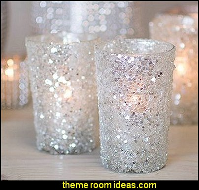 Silver Beaded Glittered Glass Votive Candle Holders