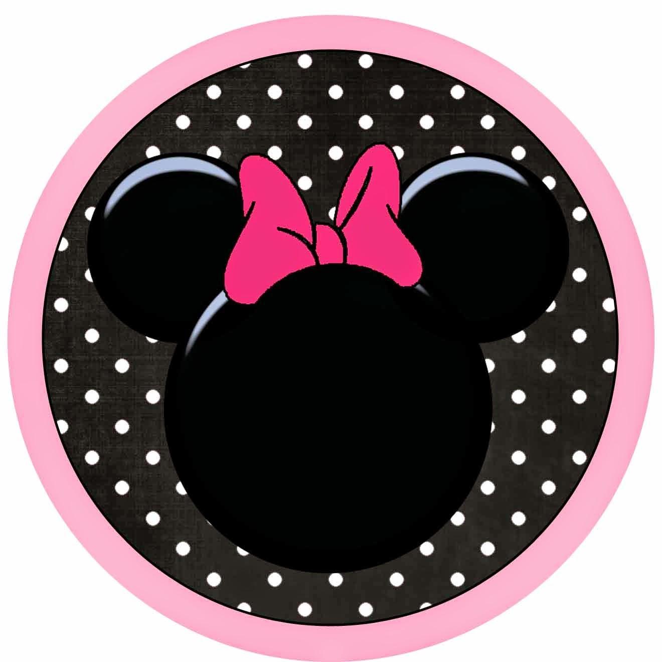 Toppers o Etiquetas para Imprimir Gratis de Minnie Mouse Rosa.