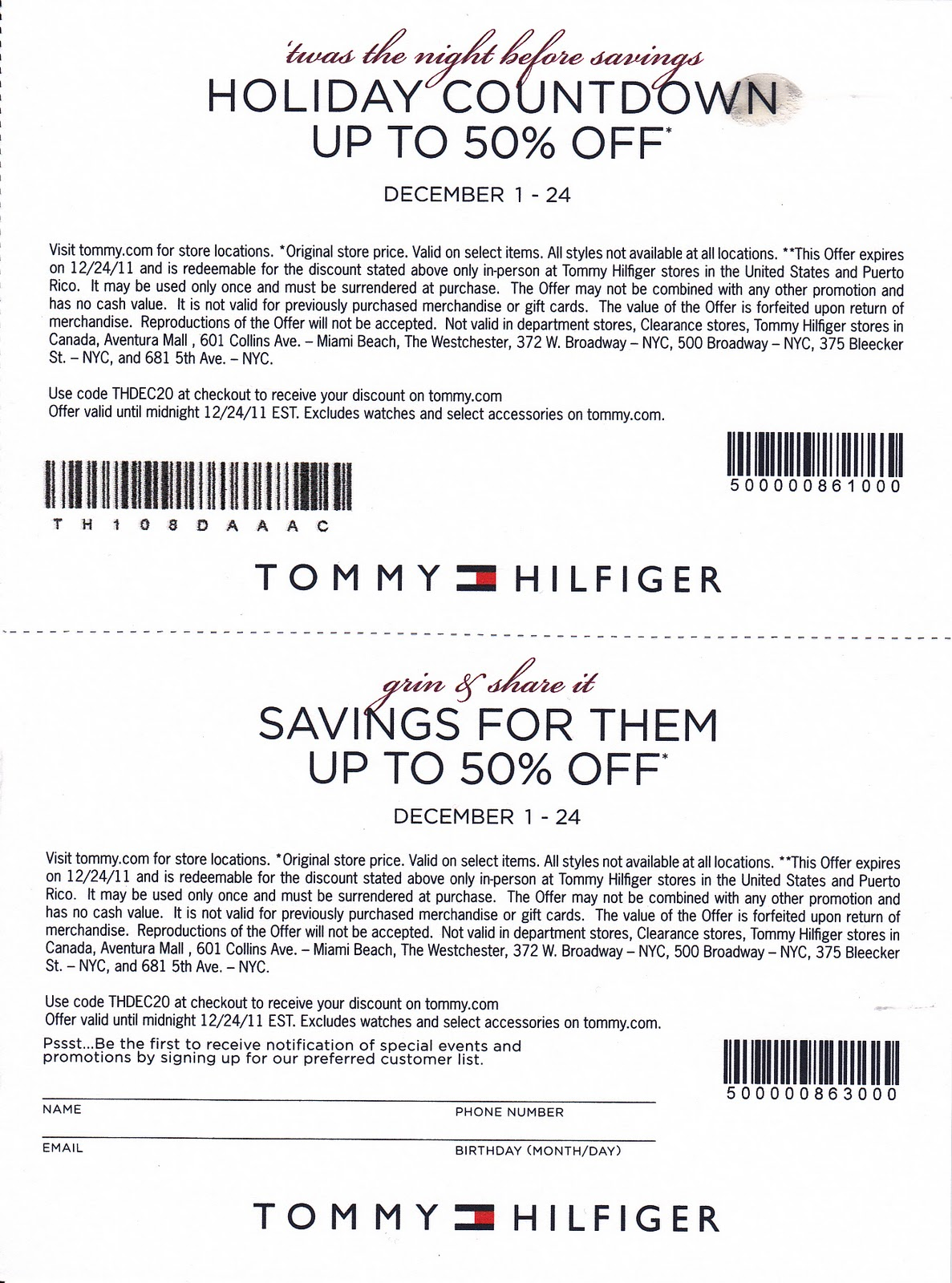 Tommy Hilfiger Coupon Printable