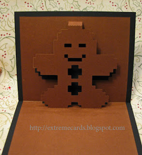 8 bit pop up card gingerbread man