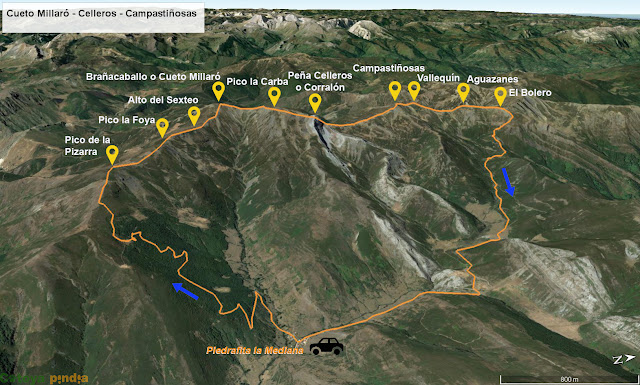 Mapa con la ruta señalizada del Brañacaballo al Pico Bolero desde Piedrafita la Mediana.