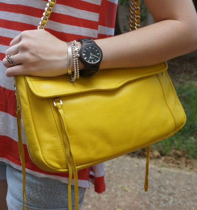 Rebecca Minkoff canary yellow swing bag citrus outfit JORD wood watch fieldcrest black
