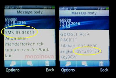 Teks isi SMS untuk konfirmasi input data KlikBCA