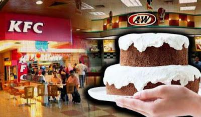 A&W DAN KFC HANYA BENARKAN KEK HALAL SAHAJA SEMASA MAJLIS HARI JADI