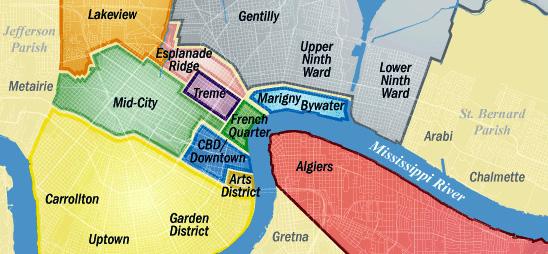 Mapa de Nova Orleans e arredores