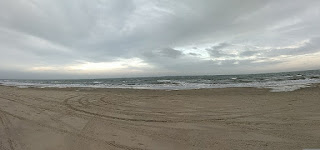panorama view of sandy beach and waves
