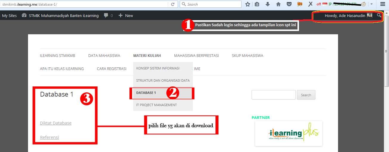 Contoh Kita Pilih Mata Kuliah Database  Lalu Klik File Yg Akan Kita Download Maka Secara Otomatis Kita Akan Direct Ke Alamat Download File Tsb