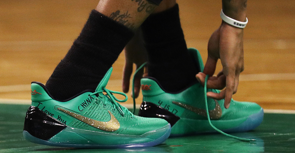 3712541f331f Isaiah Thomas on the court in his green Nike Kobe A. D. s - same he wore as  a Celtic