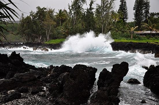 Maui waves volcanic rock