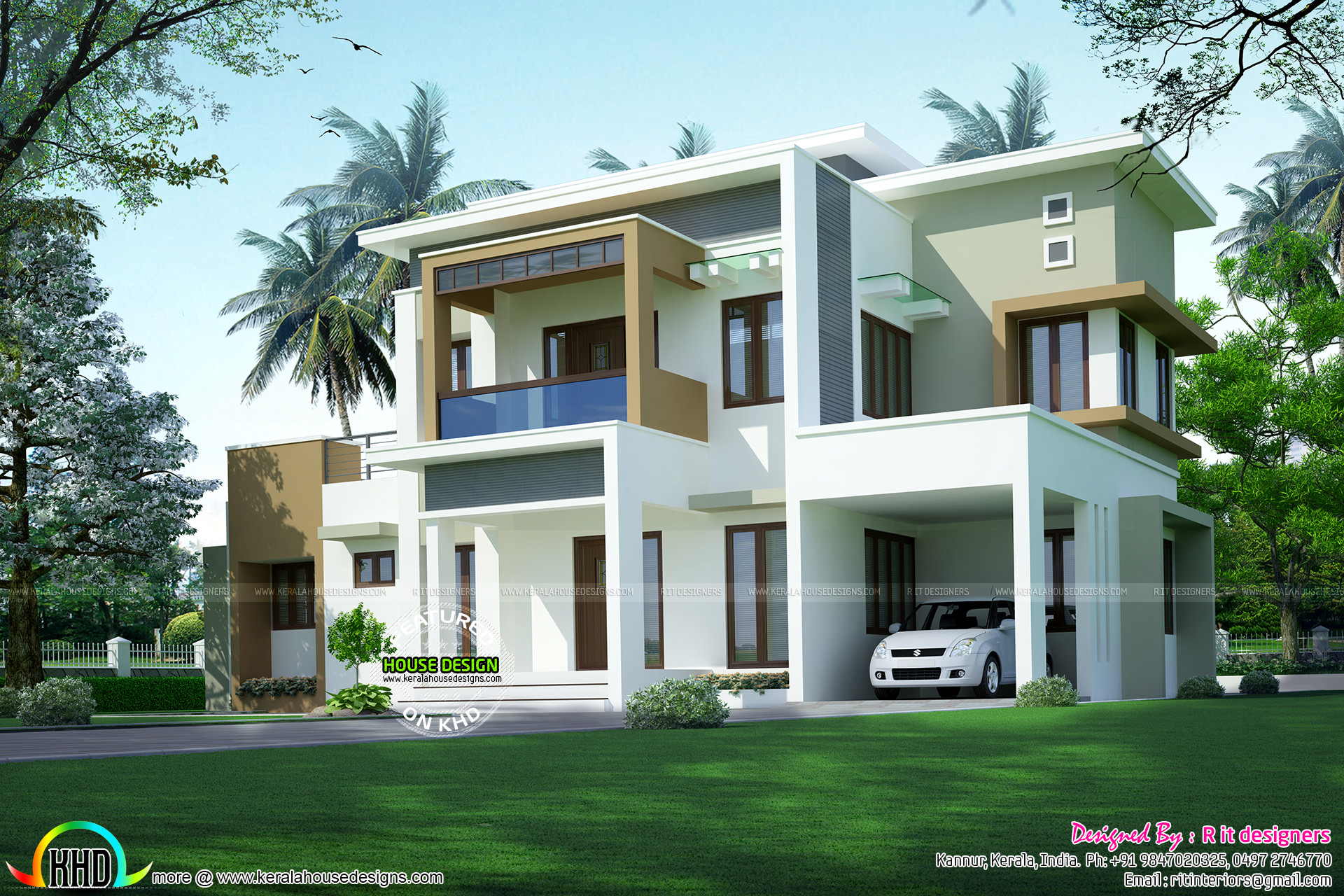 2141 box model contemporary architecture kerala home for Contemporary model homes