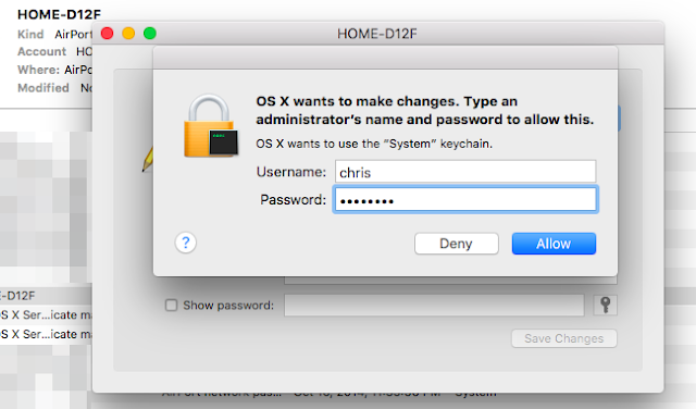 Find WiFi password in Mac