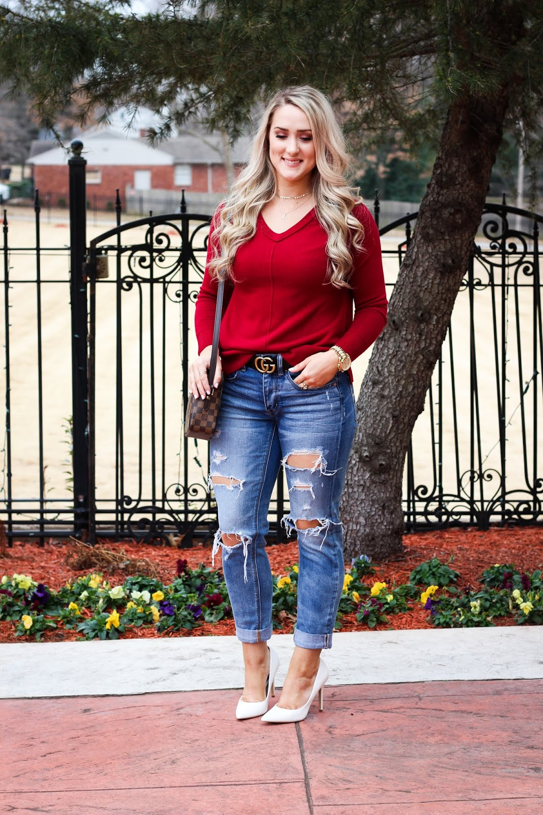 3b37e519a4bb The Blue Diamond  Red V-Neck Sweater For Valentines Day