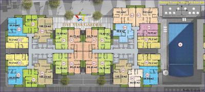 Mặt bằng căn hộ tầng 4 - 25 tại Five Star Kim Giang