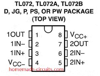 IC TL072 pinout details