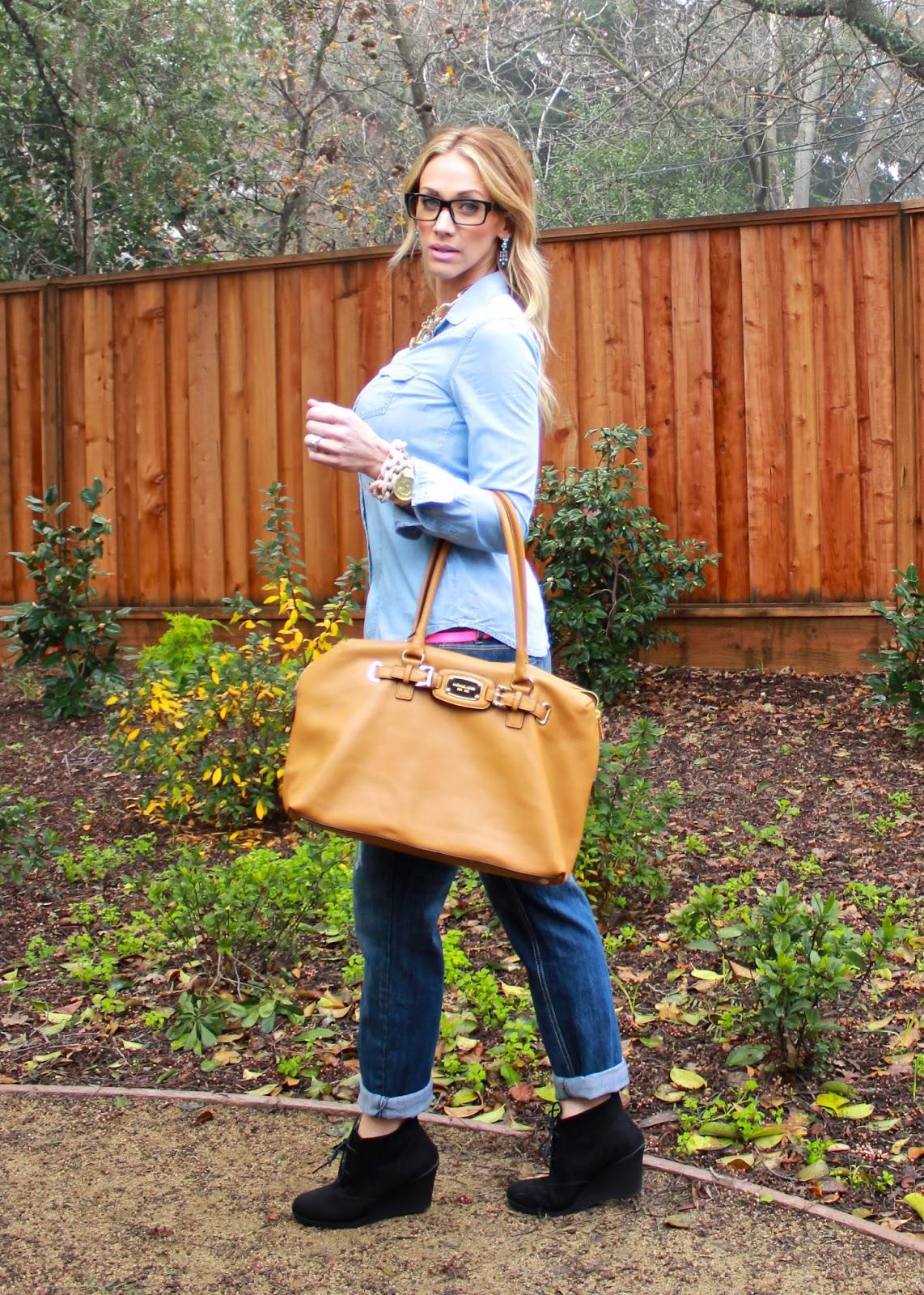 6fc3679f Top: F21   Jeans: {similar}   Belt: J Crew   Shoes: Target or {similar}    Bag: Michael Kors {similar}   Glasses: Mine   Jewelry: J Crew, {similar},  ...