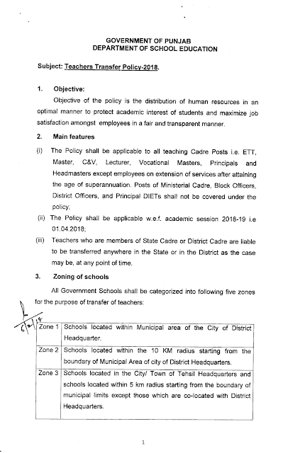 Teachers Transfer Policy-2018 School Education Department Punjab