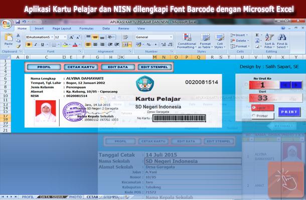 Download Aplikasi Kartu Pelajar dan NISN dilengkapi Font Barcode dengan Microsoft Excel