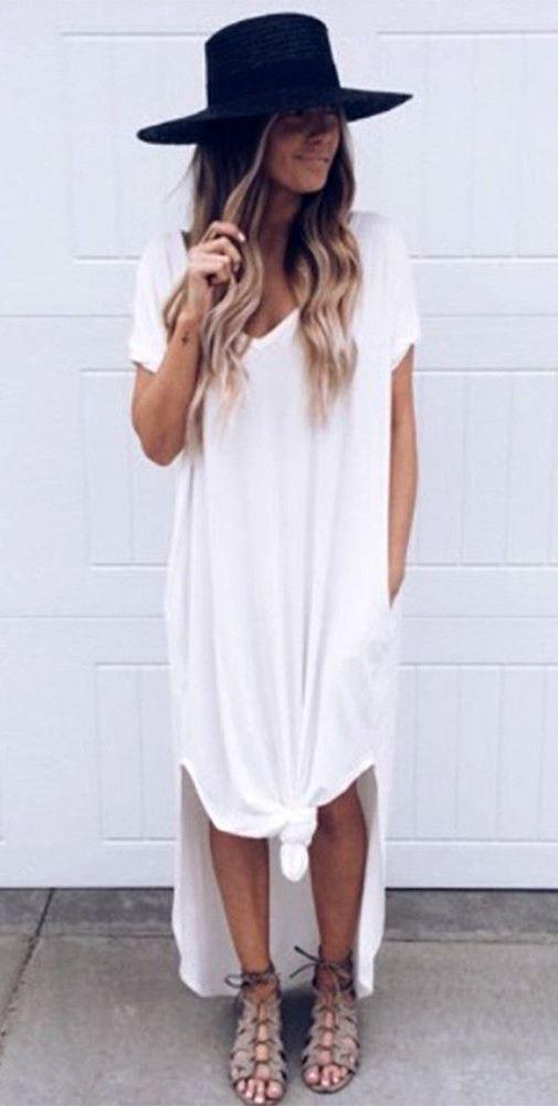 trendy outfit idea / white top dress + black hat + sandals
