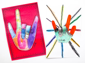 """How to make 3D """"I love you hands"""" for Valentine's Day (or Mother's Day) with kids"""