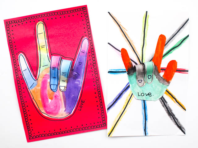 "How to make 3D ""I love you hands"" for Valentine's Day (or Mother's Day) with kids"