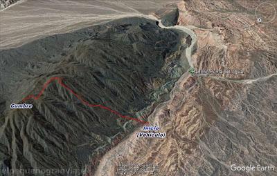 Ascenso, cumbre sur, sierras azules, trekking