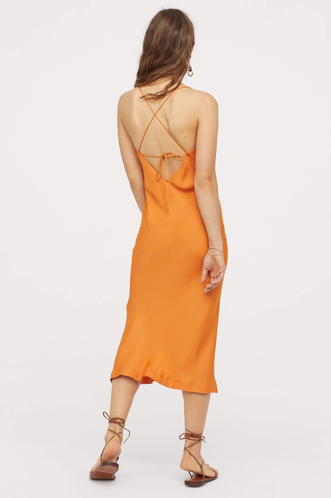 Orange Satin Slip Dress Outfit Idea — Vacation Style or Date Night Style