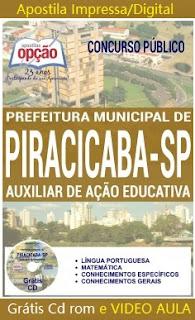 Apostila Auxiliar de Ação Educativa Prefeitura Piracicaba 2016,