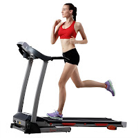 Sunny Health & Fitness SF-T4400 Motorised Treadmill, 2.20 Peak HP motor, speeds 0.5-9 MPH, 3 manual incline settings, 9 built-in programs