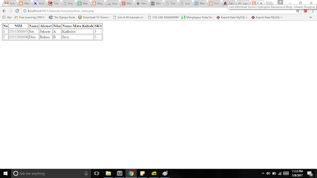 gambar 1.1 Menampilkan data mysql di php