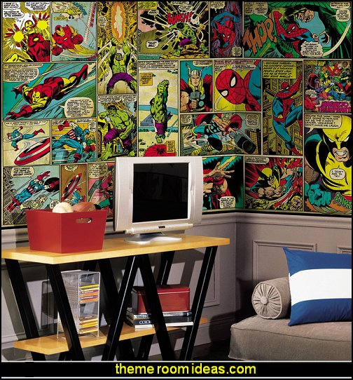 Marvel Classics Comic Panel Mural superhero bedroom wall murals