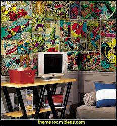 marvel comic bedroom mural wall theme superhero bedrooms heroes superheroes themed rooms panel boys dc super comics wonder woman fan