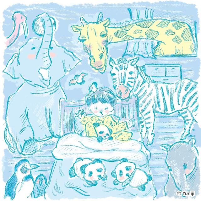 新作イラスト(手描きタッチ)動物園の動物たちと子ども