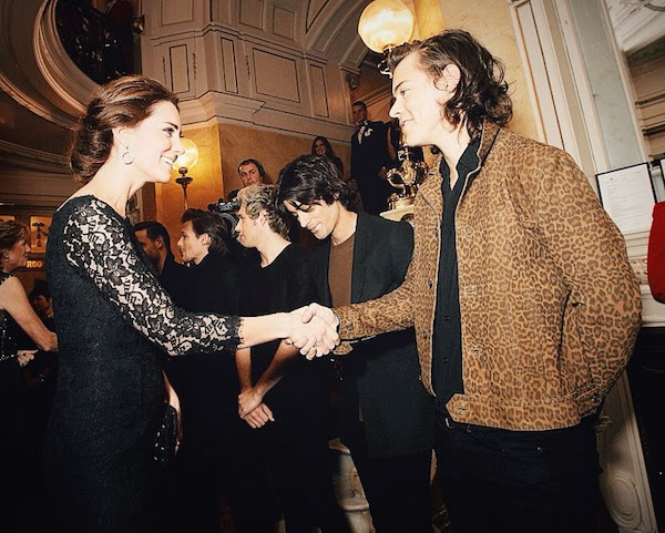 The Duchess Of Cambridge Kate Middleton with Harry Styles from One Direction in Saint Laurent by Hedi Slimane Spring Summer 2015 leopard print short jacket at Royal Variety Performance 13th November 2014