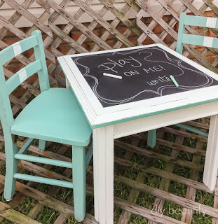 Three pieces of mismatched furniture come together into a unified set with paint! See how they looked before.