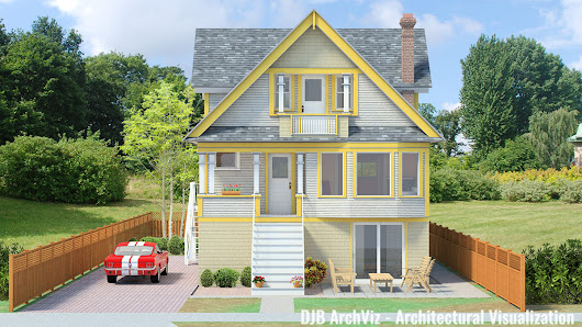 This is a 3D rendering of a 1909 Edwardian style house, and how it would look after renovations.