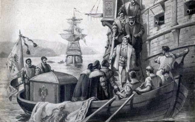 Resultado de imagen de Grabado de la llegada de Carlos de Gante a Tazones