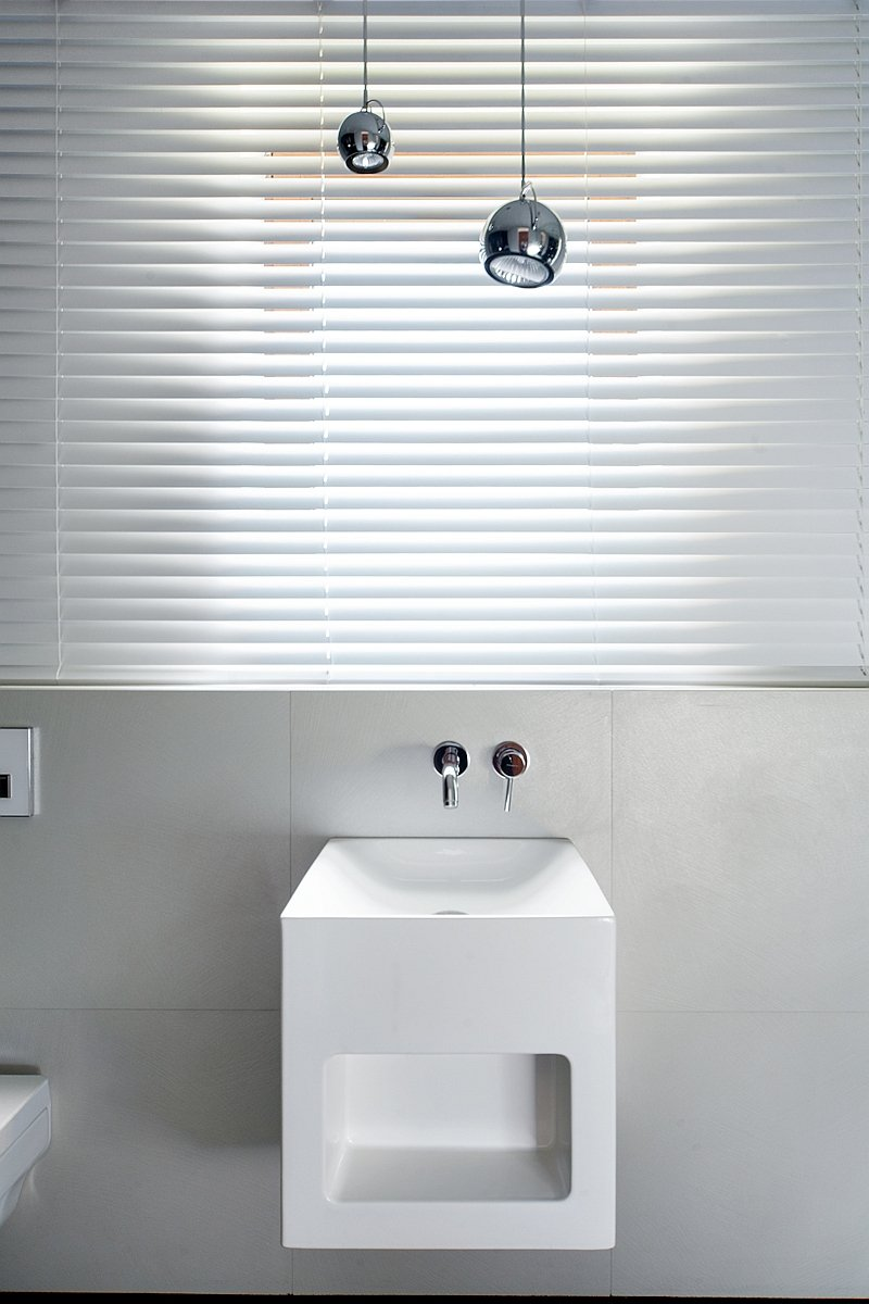 White minimalist bathroom sink