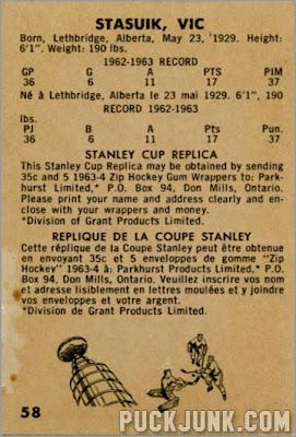 1963-64 Parkhurst #58 – Vic Stasuik
