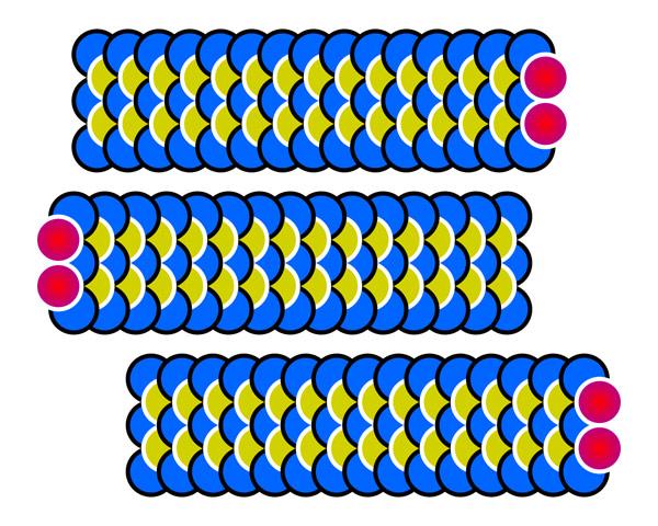 Baktıkça sağa sola gidiyor gibi görünen mavi renkli tırtıl şekilleri