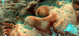 alien embryo forms allegory of the African desert dunes from the air,mirage in the Sahara desert,abstract photography