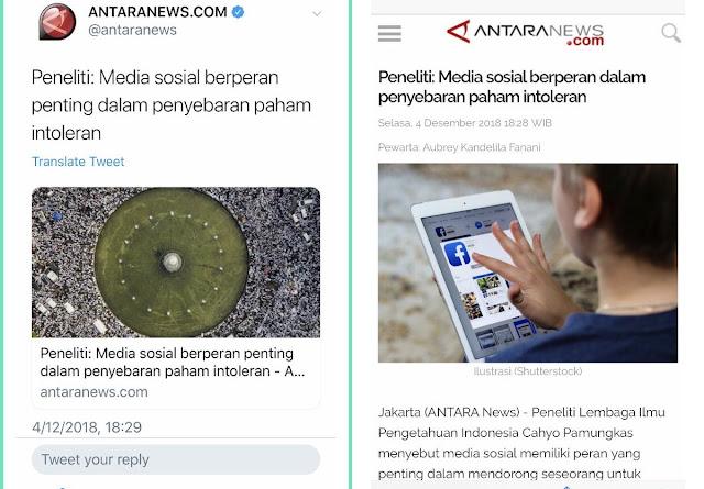 Pakai Foto 212 untuk Berita Intoleransi, Media 'Antara News' Banjir Kecaman Warganet