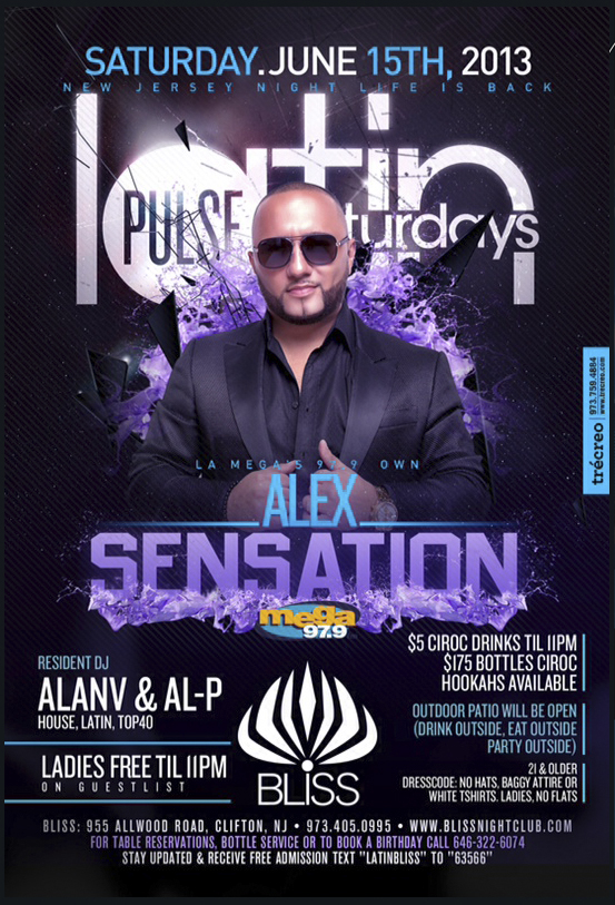Latin Pulse Saturdays @ Bliss Nightclub With Alex Sensation