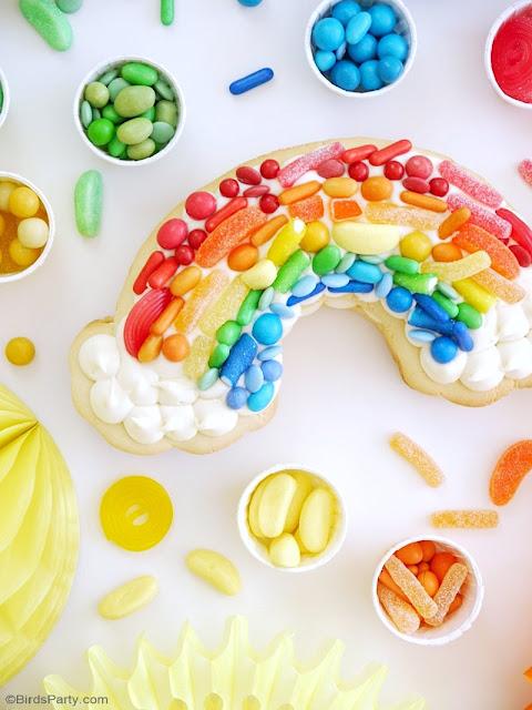 Rainbow Cookie Cake Recipe - and easy to make, super fun dessert for birthday parties,for a Saint Patrick's Day celebration or unicorn birthday! by BirdsParty.com @birdsparty #cookiecake #rainbow #rainbowcookiecake #rainbowcake #rainbowcookie #cookie #cake #saintpatricksday #rainbowbirthday #rainbowparty #rainbowtreats #rainbowdesserts