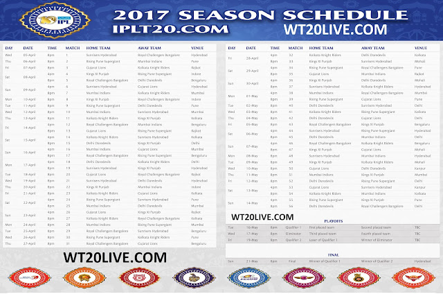 10, vivo ipl 2017 schedule, ipl 2017 time table image, Ipl 2017 match ...