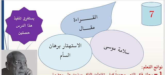 حل درس الاستهتار برهان السأم في اللغة العربية للصف الحادي عشر الفصل الاول