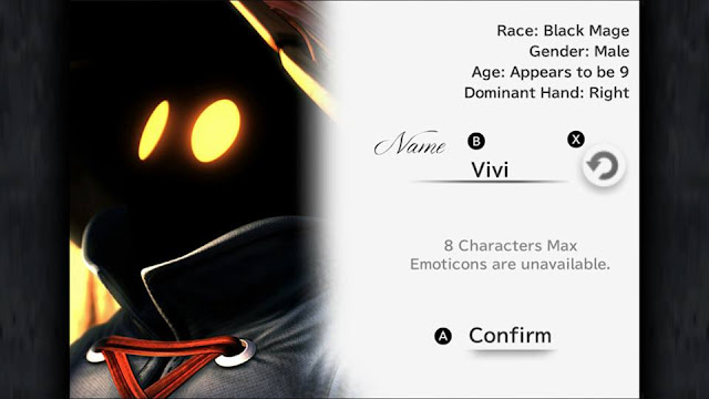 Final Fantasy IX Vivi Black Mage profile name screen