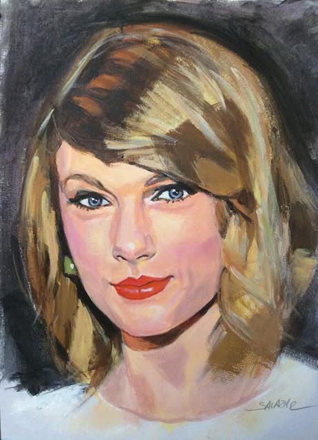 Taylor Swift pintada con acrílicos.