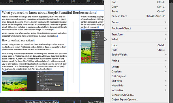 Right click in InDesign