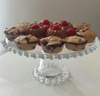 Muffins de mirtilos (sem ovos)